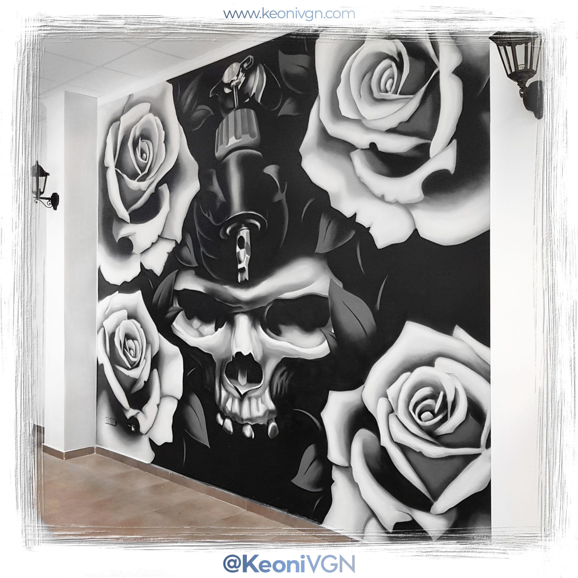 Mural Skull & Roses - Nava Tattoo 1